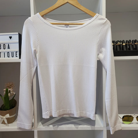 WHITE L/S RIBBED MODAL ROUND NECK