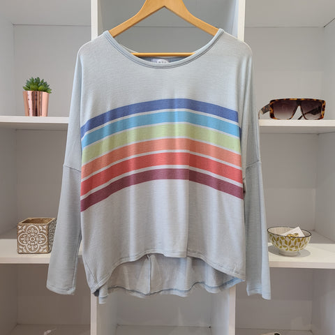 CEMENT RAINBOW STRIPE MID SLV JERSEY TOP