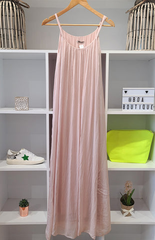 2SPAG PINK SILK HIGH SLIT LINED MAXI