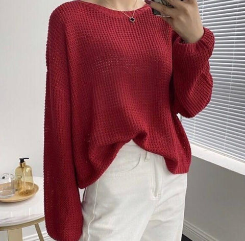 CROCHET RED MIX LINEN SHORT SWEATER