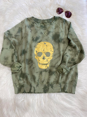 GOLD FOIL SKULL GREEN TIE DYE SWEATER