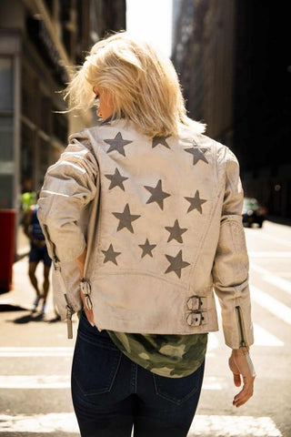 SAND CHRISTY STAR ETHICAL LEATHER JACKET