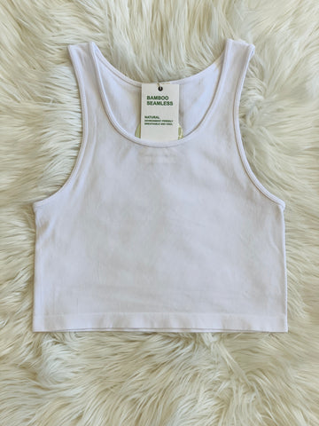BAMBOO RACER CROP WHITE
