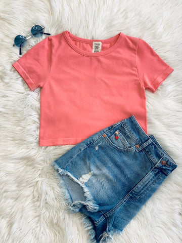 CROP BAMBOO TEE STRAWBERRY