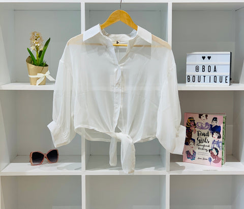 SHEER WHITE TIE UP 80S BLOUSE