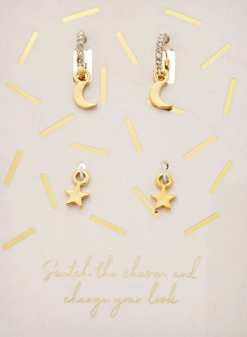 MOON AND STAR CHARM EARRINGS GOLD
