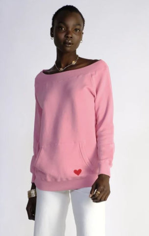 OFF SHOULDER CONFETTI PINK SWEATSHIRT MADE IN CANADA