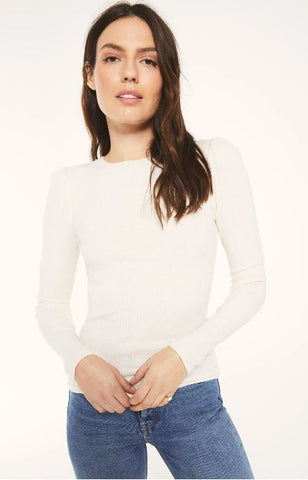 PUFF SLV BONE RIBBED TOP