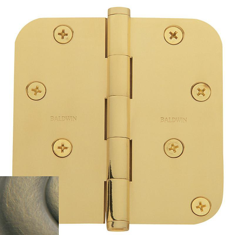 "Baldwin Residential Hinges, 4"" x 4"" with 5/8"" Radius Corners - Door Hinges Satin Brass & Black - 1"