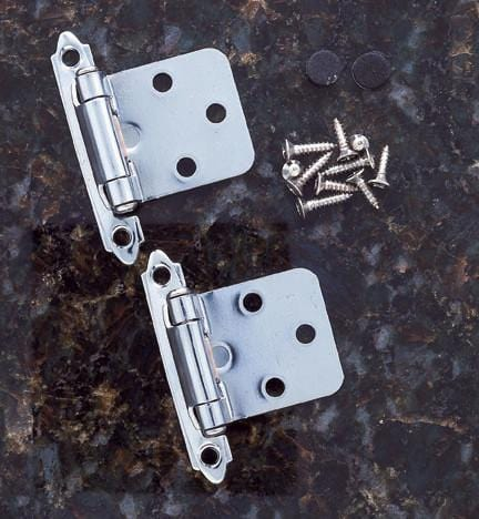 Self Closing Cabinet Hinges - Flush Mounted - Multiple Finishes Available - Sold in Pairs - Self Closing Cabinet Hinges Chrome Finish - 3