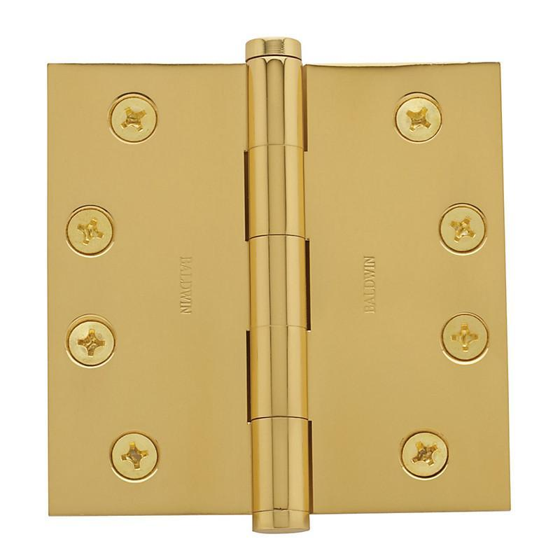 "4"" x 4"" Baldwin Architectural Hinges - Multiple Finishes Available - Door Hinges Polished Brass - 1"