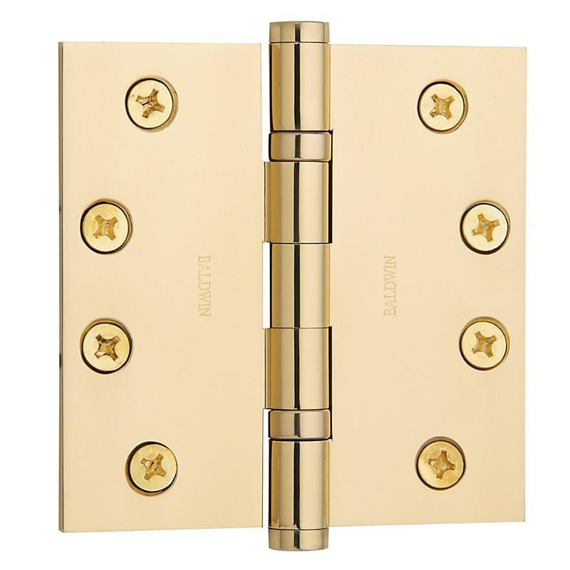 "4"" x 4"" Baldwin Ball Bearing Architectural Hinges - Multiple Finishes Available - Door Hinges Polished Brass - 1"