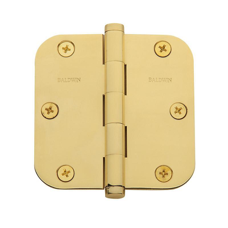 "Baldwin Residential Hinges, 3-1/2"" x 3-1/2"" with 5/8"" Radius Corners - Door Hinges Polished Brass - 1"