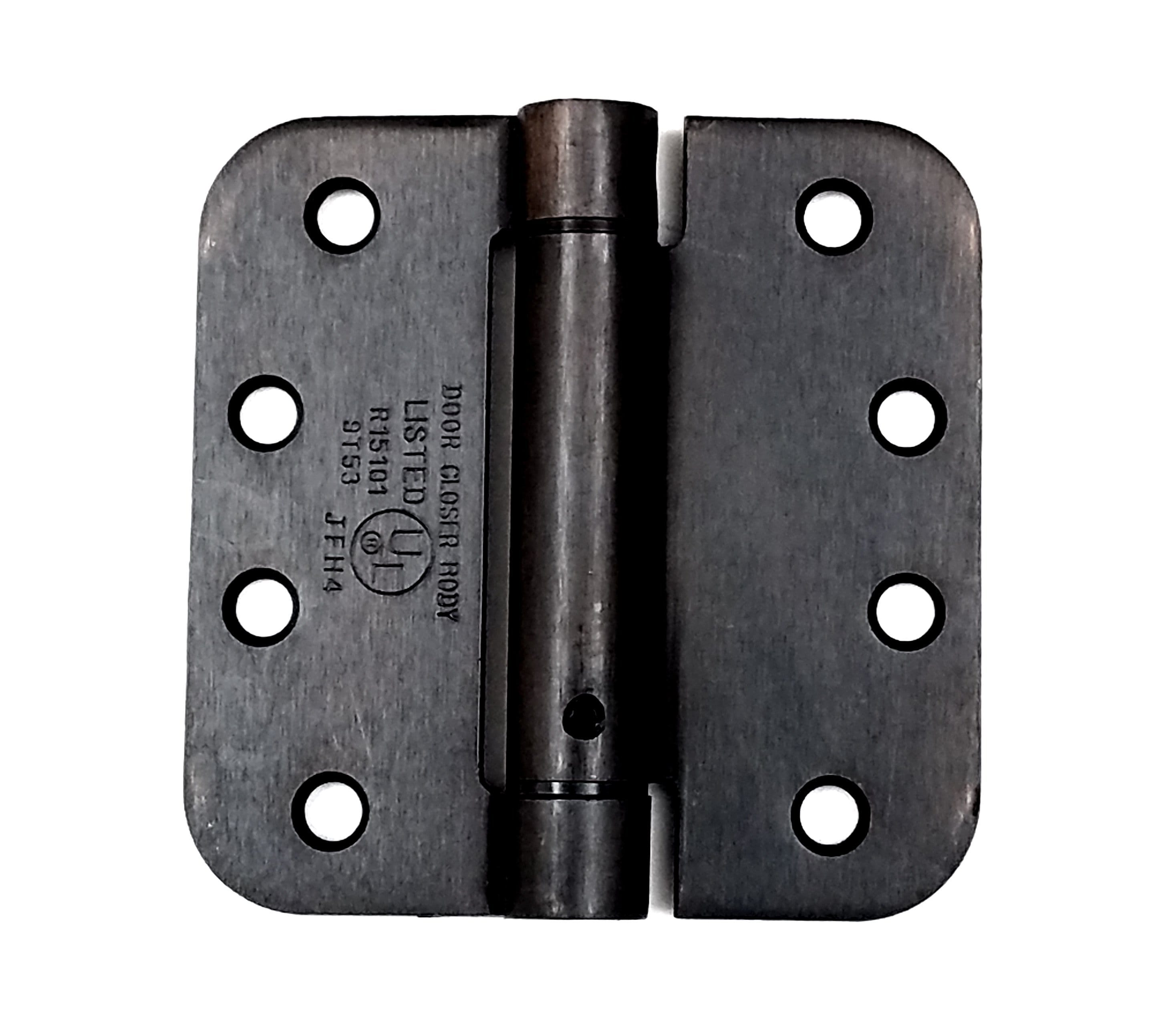 "4"" Inch with 5/8"" Inch Radius Adjustable Spring Hinge - Template hole pattern - Oil Rubbed Bronze - 2 Pack"
