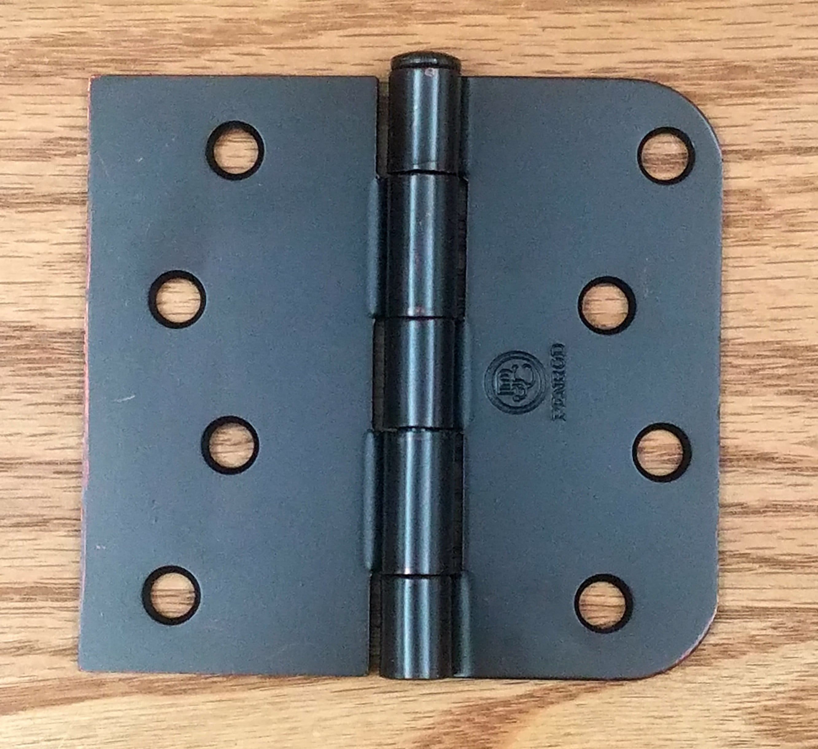 "Residential Oil Rubbed Bronze Door Hinges - 4"" inch x 4.25"" inch with 5/8"" inch Square - Plain Bearing - 2 Pack"