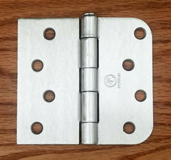 "Residential Satin Nickel Door Hinges - 4"" inch x 4.25"" inch with 5/8"" inch Square - Plain Bearing - 2 Pack"