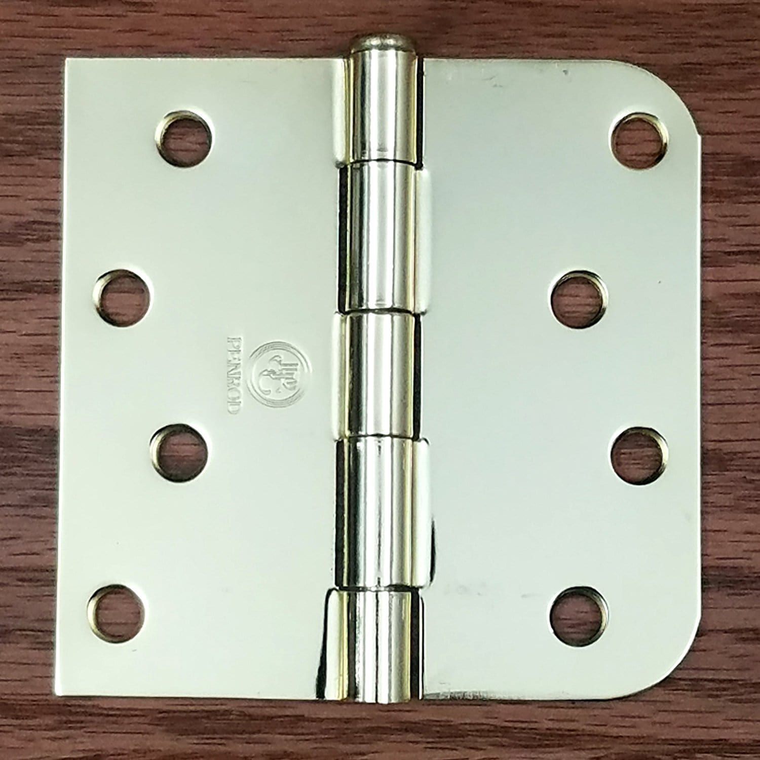 "4"" x 4"" Square Corner with 5/8"" Radius Door Hinges - Bright Brass - 3 Pack"