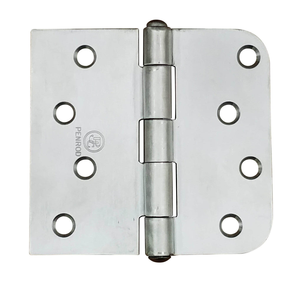 "Stainless Steel Security Hinges - 4"" x 4.25"" with 5/8"" Radius Square - Non-Removable Riveted Pin - 3 Pack"