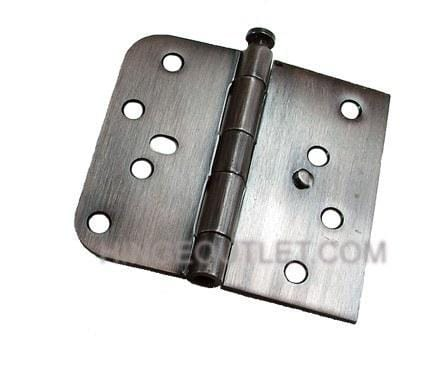 "4"" x 4 1/4"" Plain Bearing Hinge Square Corner with 5/8"" Radius Corner with Security Tab Oil Rubbed Bronze finish - Sold in Pairs"