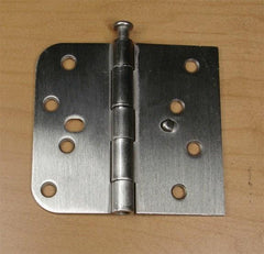 "4"" x 4 1/4"" Plain Bearing Hinge Square Corner with 5/8"" Radius Corner with Security Tab Satin Nickel finish - Sold in Pairs - 5/8"" x Square Corner Hinges"