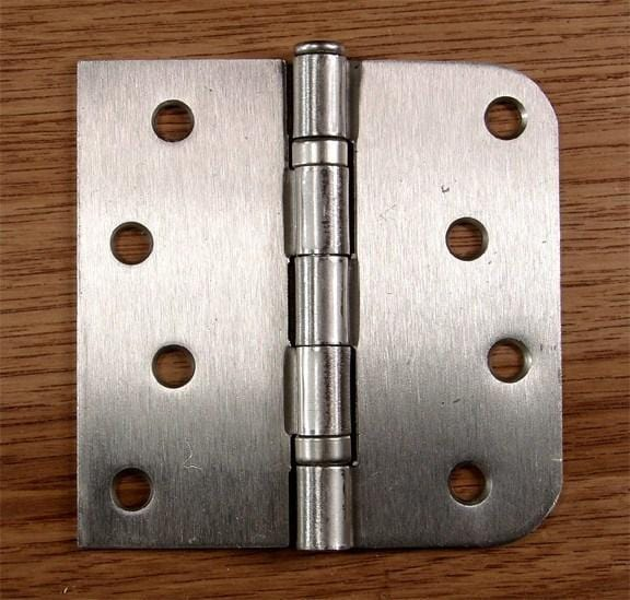 "4"" x 4"" Ball Bearing Hinge Square Corner with 5/8"" Radius Corner Satin Nickel finish - Sold as Pairs - 5/8"" x Square Corner Hinges"