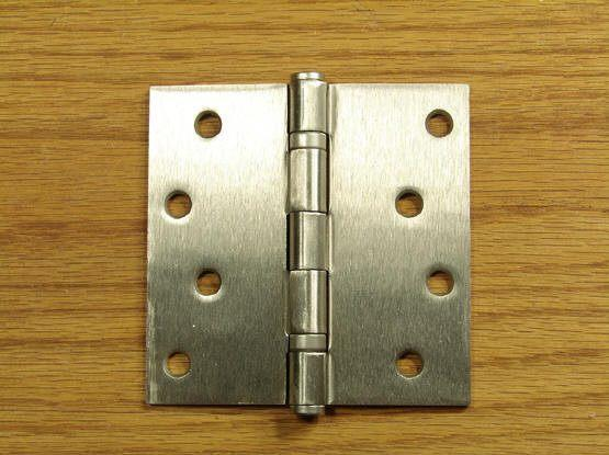 "4"" x 4"" Ball Bearing Square Corner Hinge - Satin Nickel finish - Sold in Pairs"