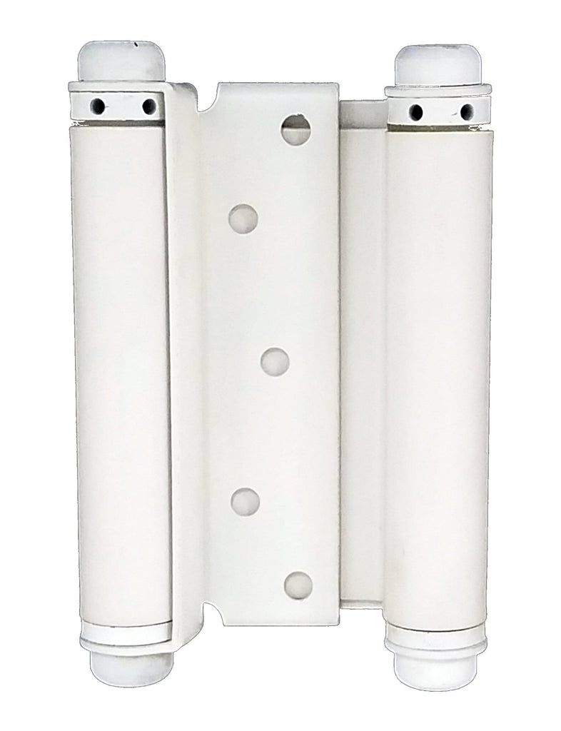 Double Acting Spring Hinges - Adjustable - White Prime - 6 Inches - 2 Pack