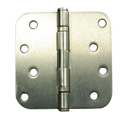 "4"" Inch with 5/8"" Inch radius Satin Nickel Ball Bearing Door Hinges - 2 Pack"