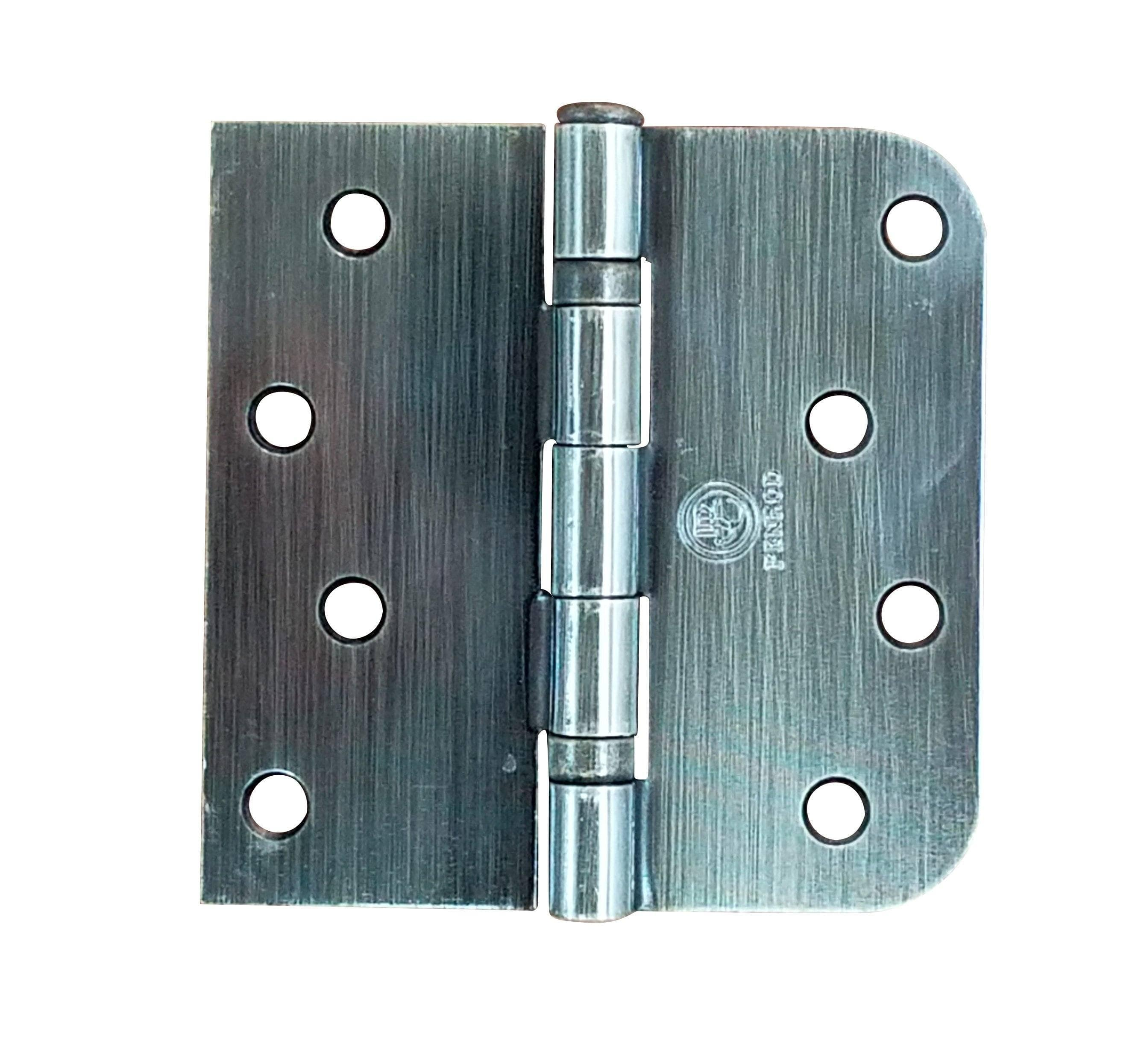 "5/8"" X Square Corner Hinges - 4"" X 4"" Ball Bearing Hinge Square Corner With 5/8"" Radius Corner Antique Brass Finish - Sold As Pairs"