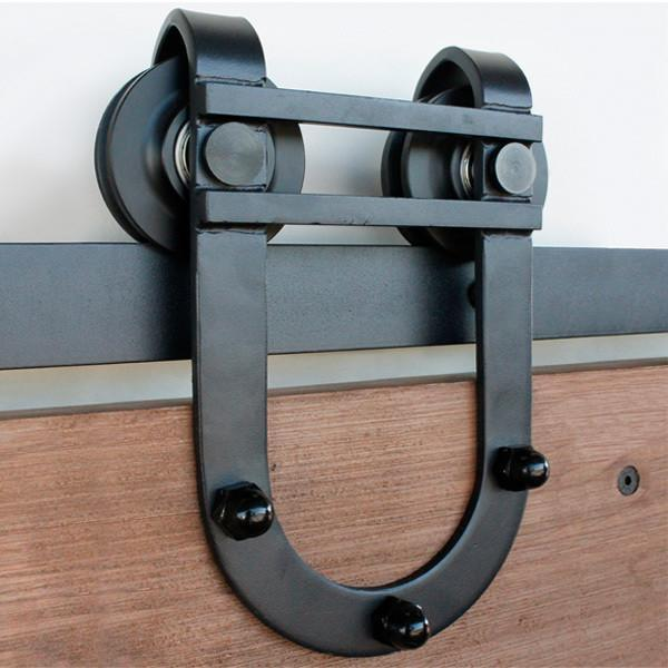 "Barn Door Hinges / Hardware Kit – Waggoner Style for Doors 30"" Inches to 48"" Inches Wide – Black Finish"