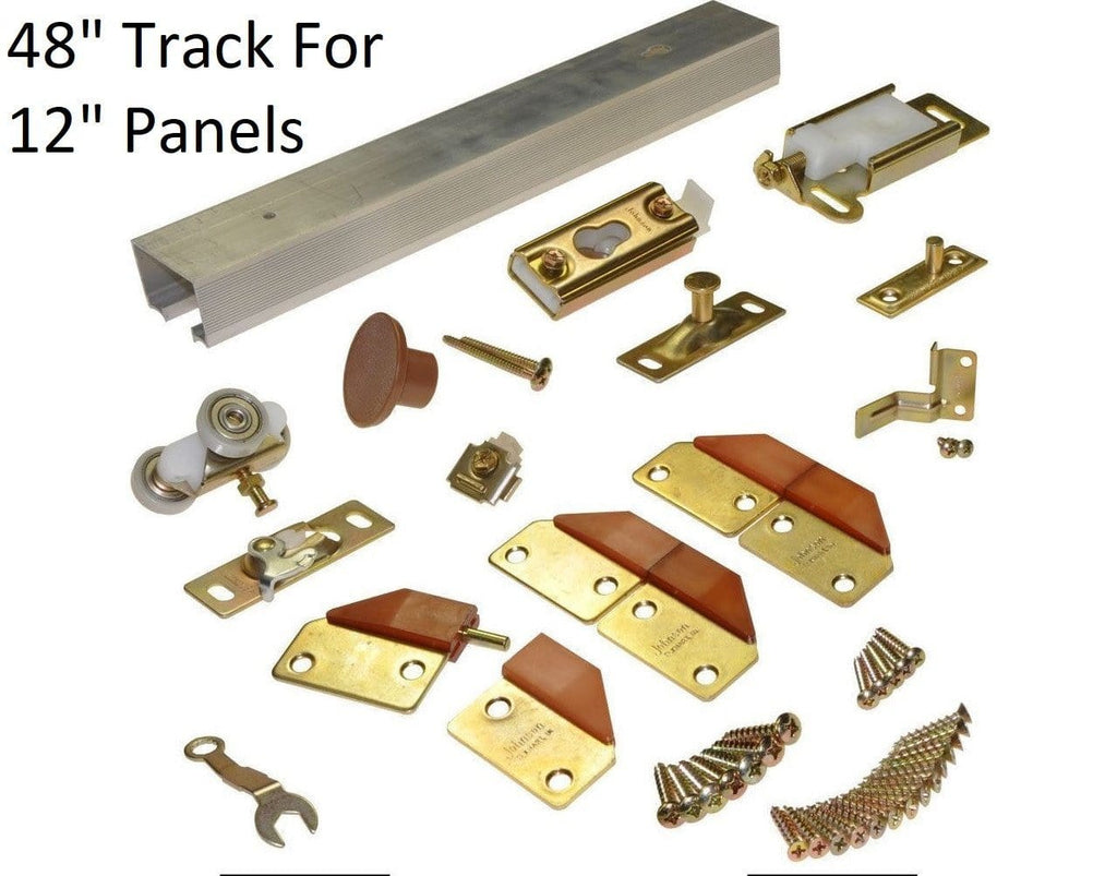 "Bifold Door Hardware - 4 Doors - 48"" Inch Track for 12"" Inch Panels - Brass"