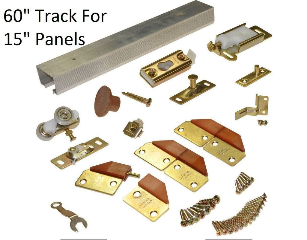 "Bifold Door Hardware - 4 Doors - 60"" Inch Track for 15"" Inch Panels - Brass"