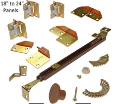 "Bifold Adjustable Full Access Door Hardware - 2 Doors - 18"" to 24"" - Brown with Brass Hinges"