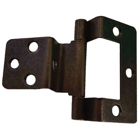 "Bifold Lipped Door Hinges - Non Mortise - 3/8"" Overlay (Inset 3/8"") - High Quality Steel - 2"" Inches Length - Statuary Bronze Finish - Sold Individually"