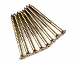"Flat Head #9 x 2 1/4"" or 3"" wood screws with 1 1/2"" thread - Bright Brass Finish 24 Pack or 96 Pack"