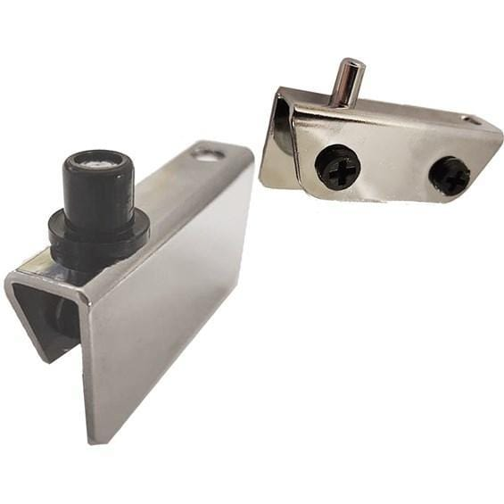 Glass Door Hinges - Self Latching Inset - Multiple Finishes Available - 2 Pack