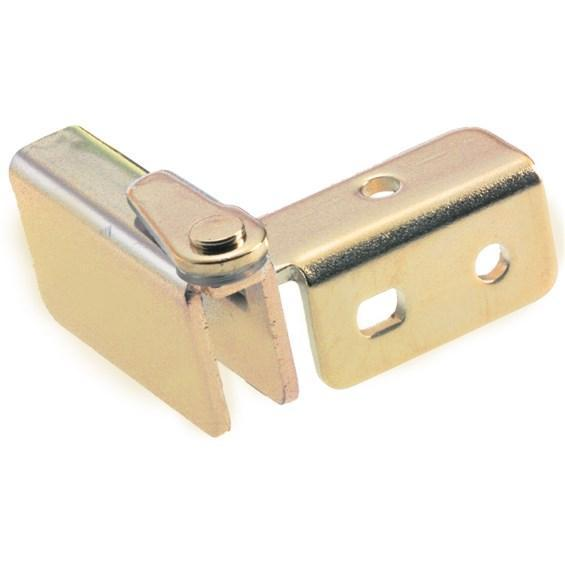 Glass Door Hinges - Side Mount Wedge Inset - Polished Brass Finish - 2 Pack