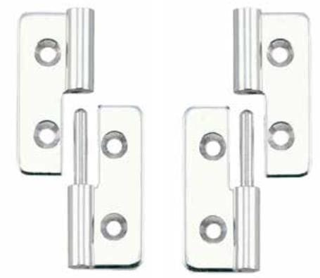 "Lift Off Hinges - For Cabinets 1-37/64"" x 1-3/16"" - Stainless Steel - Sold Individually"