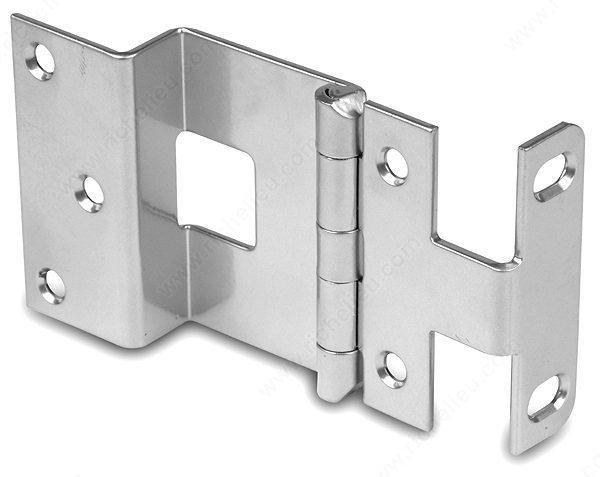 "Offset Hinges - 3/4"" Inch Overlay Institutional Hinge - For Doors up to 1 3/8"" Inches Thick - Satin Chrome Finish - Sold Individually"