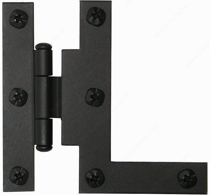 Offset Hinges - Offset HL Surface Hinge In Forged Iron - Matte Black Finish - 2 Pack