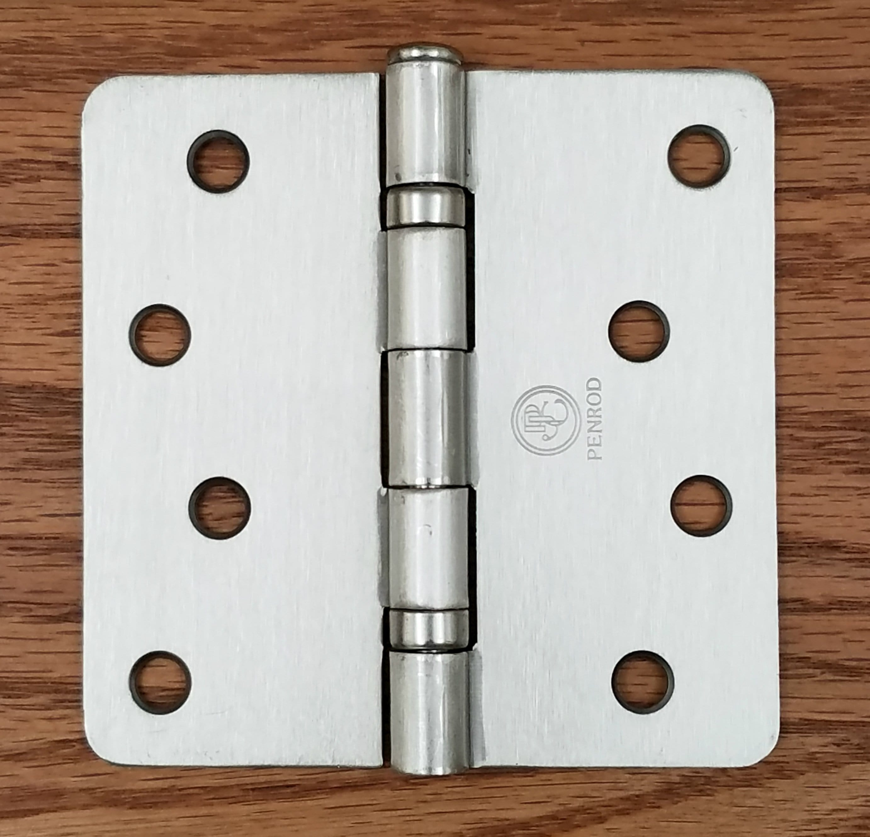 Residential Penrod Ball Bearing Hinges - 4 inch with 1/4 inch Radius Corner - Satin Nickel - 3 Pack