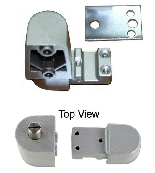 "Pivot Door Hinges Kawneer Style - Top Pivot - Offset for Aluminum Doors - Face Frame or 1/8"" Recessed Applications"