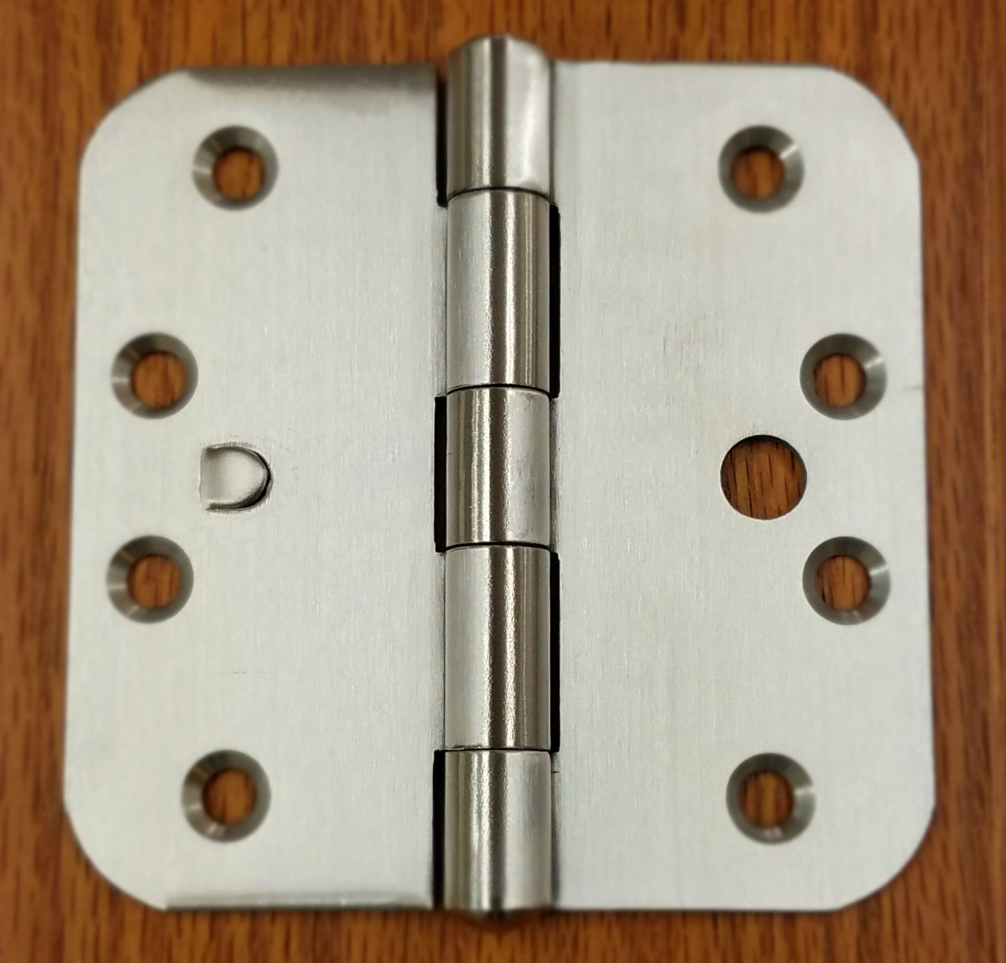 "Stainless Steel Hinges with Security Tab - 4"" x 4""  Plain Bearing Hinge with 5/8"" Radius Corners - Arch Hole Pattern - 2 Pack - Stainless Steel Hinges"