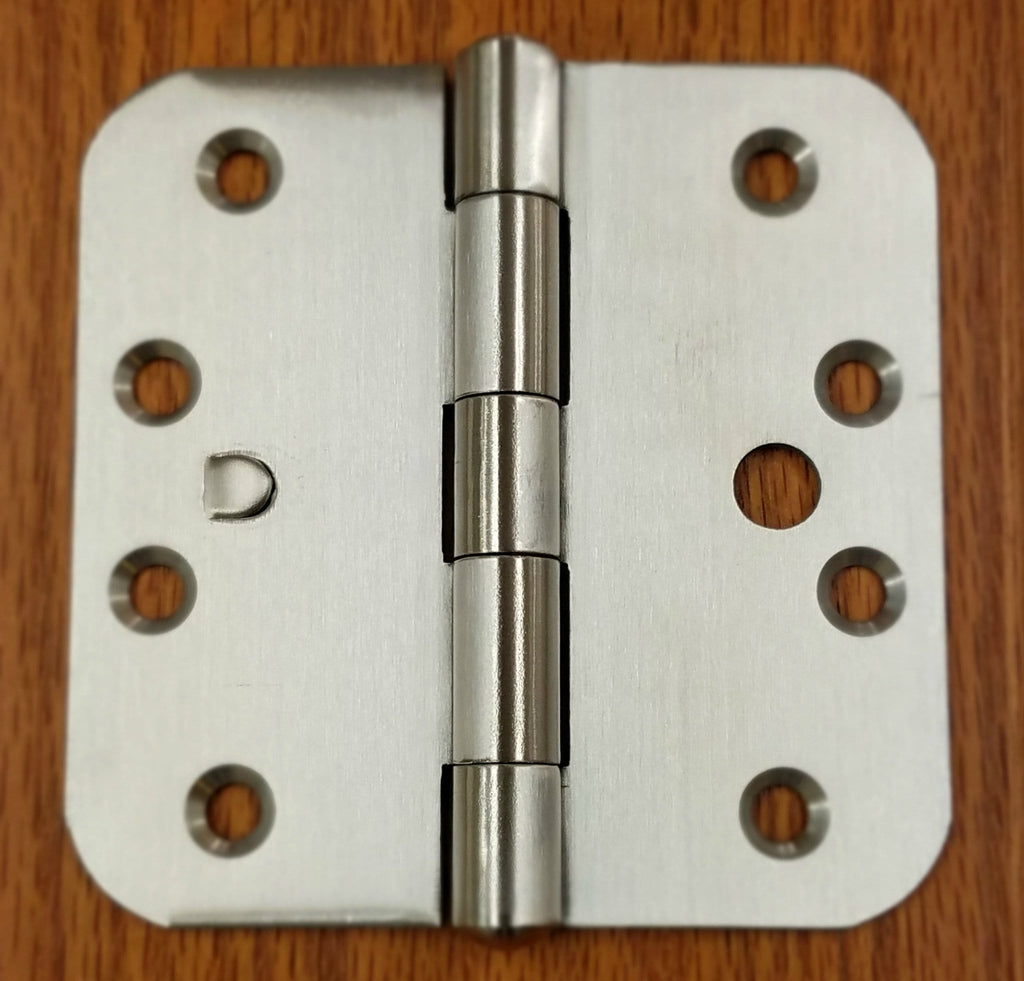 "Stainless Steel Hinges with Security Tab - 4"" x 4""  Plain Bearing Hinge with 5/8"" Radius Corners - Arch Hole Pattern - 2 Pack"