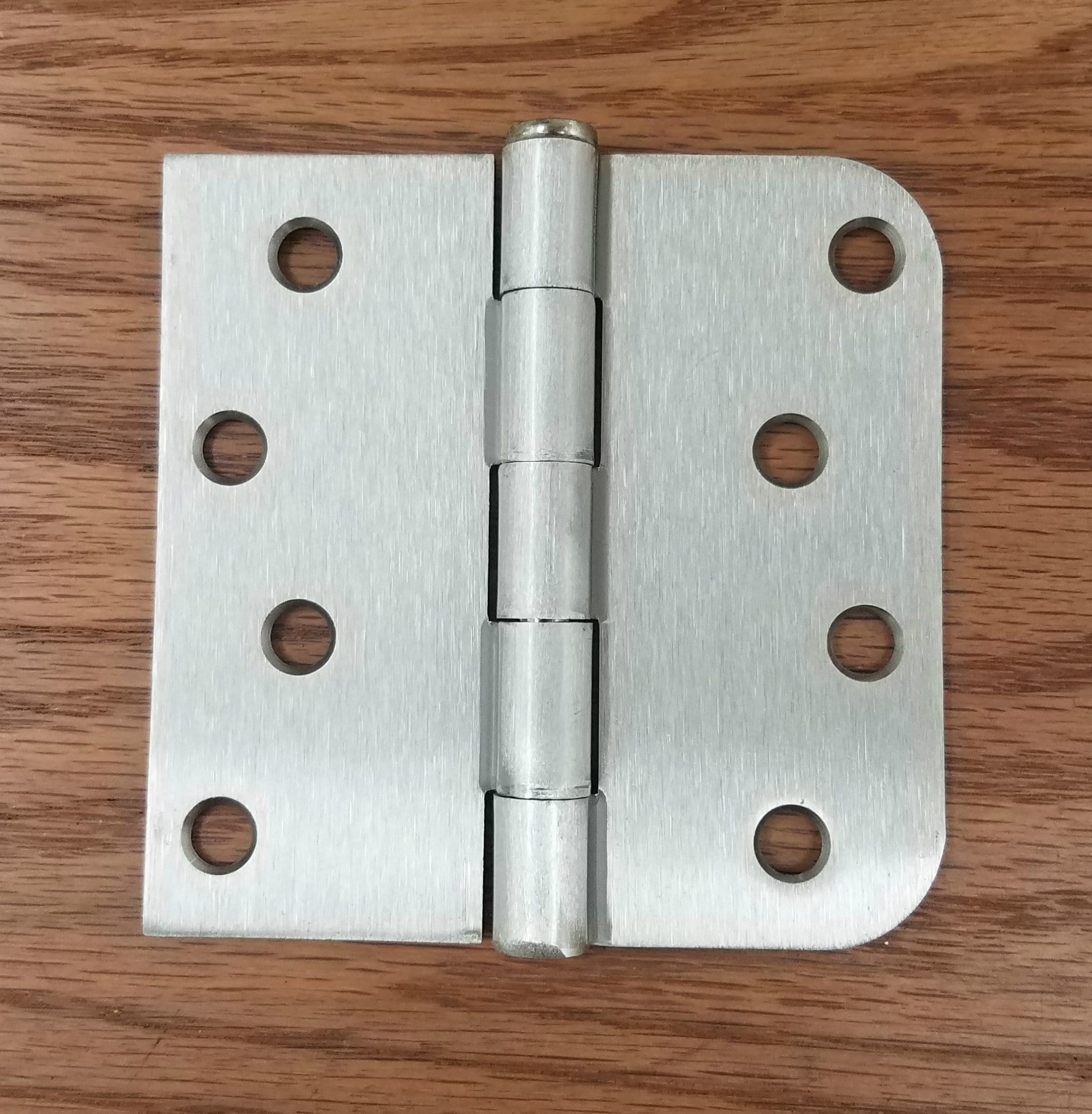 Residential Satin Nickel Door Hinges - 4 inch with 5/8 inch Square - Plain Bearing - 2 Pack