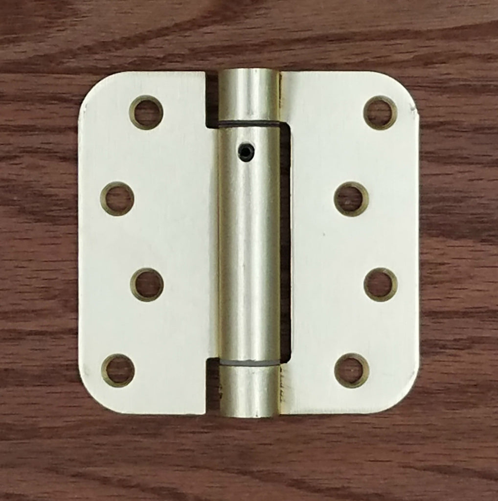 "4"" x 4"" Spring Hinges with 5/8"" radius corner Satin Brass - 2 Pack"