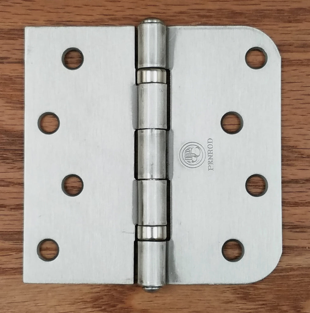 "Satin Nickel Penrod Ball Bearing Security Hinges - 4"" with 5/8"" Radius Square - Non-Removable Riveted Pin - 3 Pack"