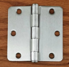 "Residential Door Hinges - Plain Bearing Satin Nickel - Butt Hinges - 3.5"" Inches with 1/4"" Radius - 2 Pack"