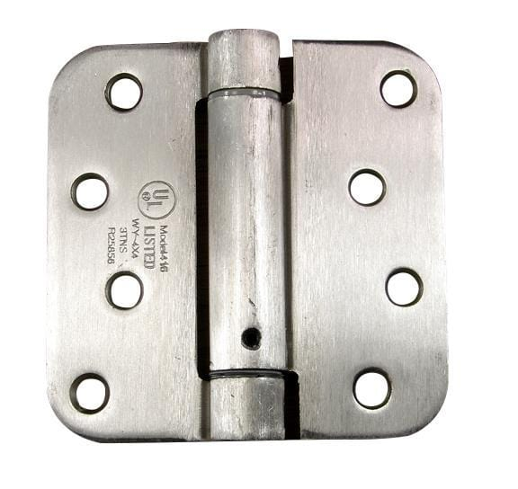 "4"" x 4"" Spring Hinges with 5/8"" radius corner Satin Nickel - Sold in Pairs"
