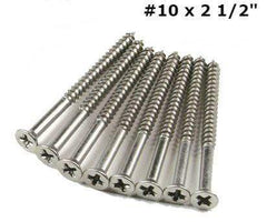 Extra Long Hinge Screws - Satin Nickel - #10 x 2.5 inches - For Commercial Hinges